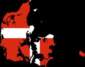 Die dänische Karte und Flagge.