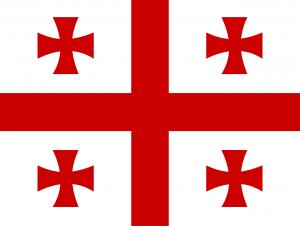 Autokennzeichen in Georgien tragen die Landesflagge.