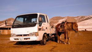 Neben einzeiligen gibt es zweizeilige Nummernschilder in der Mongolei.