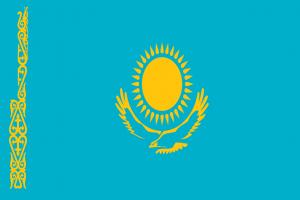 Autokennzeichen in Kasachstan tragen für Regierungsfahrzeuge und Fahrzeuge des Parlamentes die Landesflagge Kasachstans.