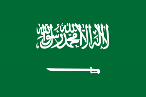 Die Autokennzeichen in Saudi-Arabien tragen das Landeswappen rechts in einem gesonderten Feld.