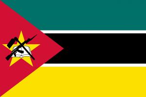 Die Autokennzeichen in Mosambik tragen das Landeswappen in der Mitte des Nummernschildes.