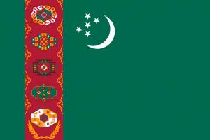 Autokennzeichen in Turkmenistan tragen links die Landesflagge.