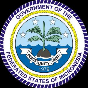 """Das Siegel von Mikronesien. Der Wahlspruch lautet """"Peace, Unity, Liberty"""" also  """"Friede, Einheit, Freiheit"""""""
