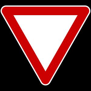 Bei diesem Schild muss man die Vorfahrt achten und gewähren. es handelt sich um ein negatives Verkehrszeichen.