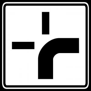 Das Verkehrsschild für die abknickende Vorfahrtstraße.