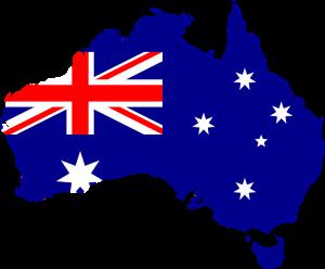 Die australische Flagge und Landeskarte.