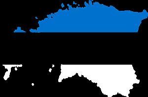 Die Karte und Landesfahne von Estland.
