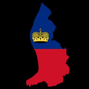 Die Landeskarte und Flagge von Liechtenstein.