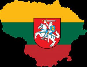 Die Landeskarte und Flagge von Litauen (lithuania auf Englisch).