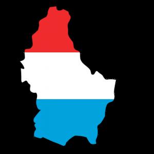 Die Landeskarte und Flagge von Luxemburg.
