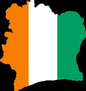 Die Landesflagge und Karte der Elfenbeinküste, côte d l'ivoire