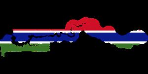 Die Landeskarte und -flagge von Gambia.
