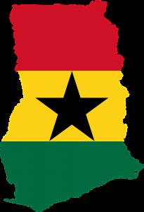 Die Landeskarte und -flagge von Ghana.