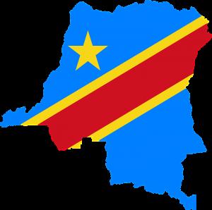 Die Landesflagge und Karte vom Kongo.