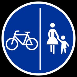 Die Nutzung von Gehwegen ist genau geregelt. Hier müssen Radfahrer und Fußgänger getrennt von einander passieren, bei einem waagerechten Trennstrich erfolgt die Nutzung gemeinsam.